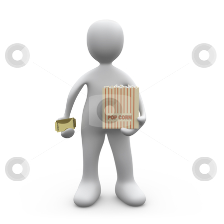 Ready for the show stock photo, 3d person holding a cinema ticket and a popcorn box. by Konstantinos Kokkinis