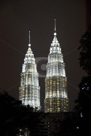 Twin Towers, Kuala Lumpur, Malaysia.  stock photo, Closeup Twin Towers, Kuala Lumpur, Malaysia.    by Ingvar Bjork