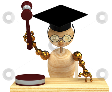 3d wood man holding a gavel stock photo, 3d wood man holding a gavel isolated on white by vetdoctor