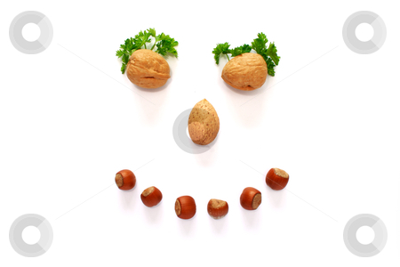 Smiling face made whith help of nuts stock photo, smiling face is made whith help of nuts by vetdoctor