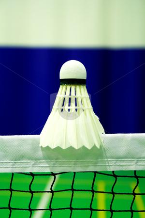Shot of badminton shuttlecock stock photo, shot of badminton shuttlecock  on the net by vetdoctor