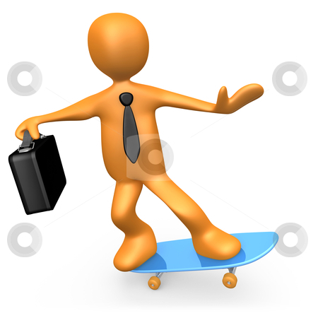 Businessman On Skateboard stock photo, Computer Generated Image - Businessman On Skateboard. by Konstantinos Kokkinis