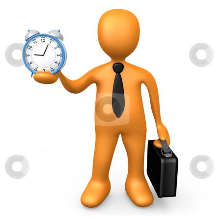 Businessman Holding A Clock stock photo, Computer Generated Image - Businessman Holding A Clock. by Konstantinos Kokkinis