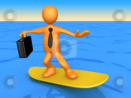 Surfing Businessman stock photo, Computer Generated Image - Surfing Businessman . by Konstantinos Kokkinis