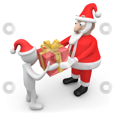 Santa Giving A Present stock photo, Computer Generated Image - Santa Giving A Present. by Konstantinos Kokkinis