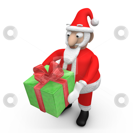 Santa Offering A Gift. stock photo, Computer Generated Image - Santa Offering A Gift. by Konstantinos Kokkinis