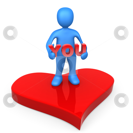 "Love You stock photo, 3d person standing on a big red heart holding the word ""you"". by Konstantinos Kokkinis"