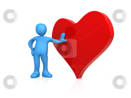 Valentines Heart stock photo, 3d person standing next to a big red heart. by Konstantinos Kokkinis