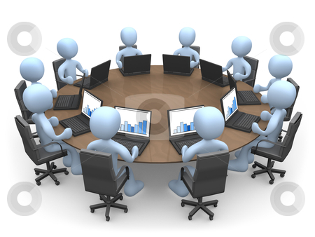 Team Meeting stock photo, 3d people sitting around a table using laptops . by Konstantinos Kokkinis