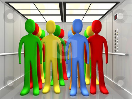 People In Elevator stock photo, Computer Generated Image - People In Elevator . by Konstantinos Kokkinis