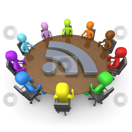 Blog Discussion stock photo, Various people sitting around a table discussing . by Konstantinos Kokkinis