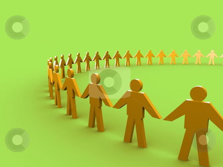 Together stock photo, 3d people holding hands and forming a big circle. by Konstantinos Kokkinis