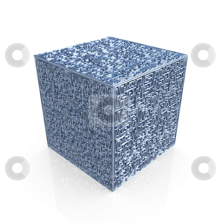 Maze Cube stock photo, Computer generated metal maze-cube with great detail. by Konstantinos Kokkinis