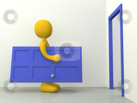 Relocation stock photo, Metaphor of a person moving to a new home. by Konstantinos Kokkinis