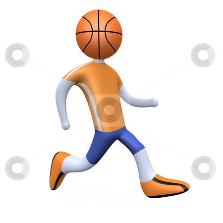 Basketball Player stock photo, 3d basketball player with his head replaced by a ball. by Konstantinos Kokkinis