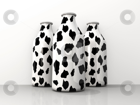 Milk Bottles stock photo, Computer generated image - Milk Bottles . by Konstantinos Kokkinis