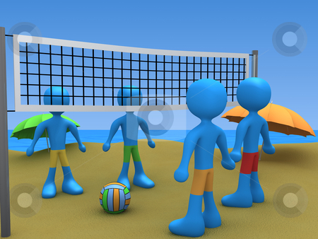 Beach Volley Challenge stock photo, Computer generated image - Beach Volley Challenge. by Konstantinos Kokkinis