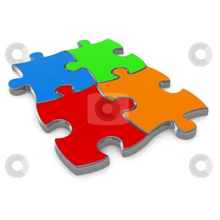 Jigsaw Puzzle stock photo, Computer generated image - Jigsaw Puzzle Design. by Konstantinos Kokkinis