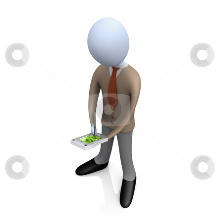 Business Person With Palmtop stock photo, 3d business person working on his palmtop . by Konstantinos Kokkinis
