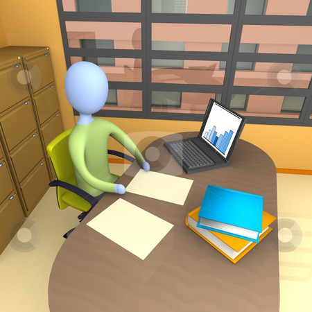 Office Moment stock photo, Business person doing some work in his office . by Konstantinos Kokkinis