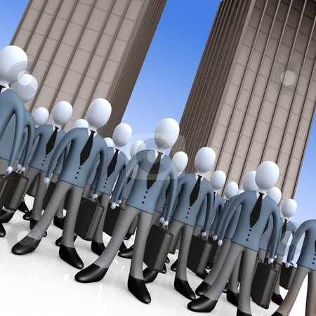 Business Team stock photo, Group of business people standing in front of office buildings. by Konstantinos Kokkinis