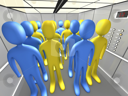 People In Elevator stock photo, Computer generated image - People In Elevator. by Konstantinos Kokkinis