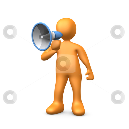 Megaphone stock photo, 3d person talking into a megaphone - bullhorn . by Konstantinos Kokkinis