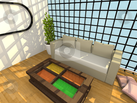 Modern Interior stock photo, Computer generated image - Modern Interior . by Konstantinos Kokkinis