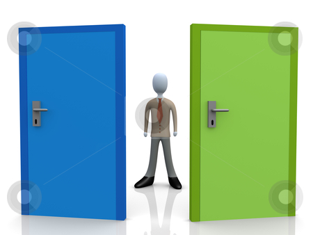 Business Dilemma stock photo, 3d business person standing in front of two doors. by Konstantinos Kokkinis