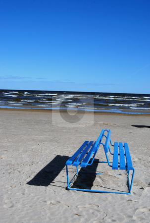Bench near the sea  stock photo, Blue empty bench near the sea in sunny day  by sauletas