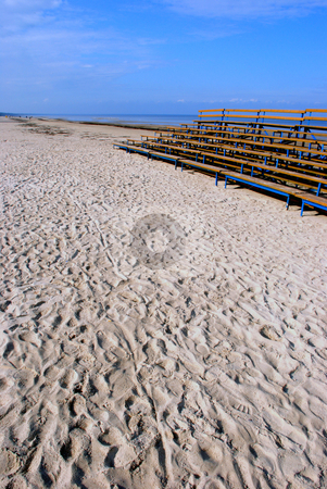Benches near the sea  stock photo, Blue empty benches near the sea in sunny day  by sauletas