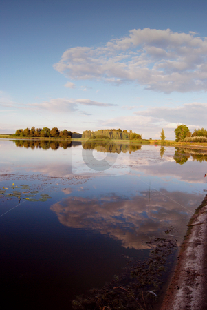 Summer sunset  stock photo, Summer sunset tranquility surrounded trees and a pond  by sauletas