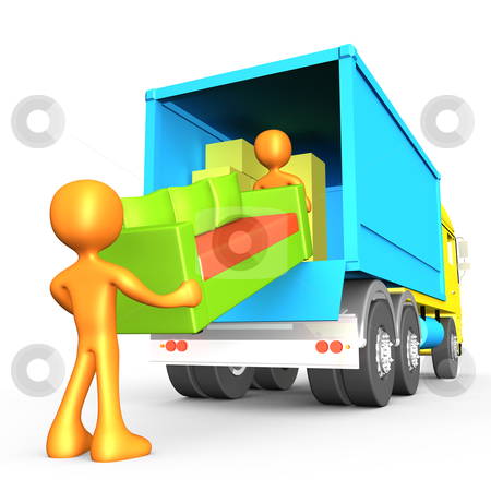 Movers stock photo, Computer generated 3d image - Movers . by Konstantinos Kokkinis