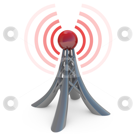 Broadcasting stock photo, 3d tower broadcasting a wireless signal. by Konstantinos Kokkinis