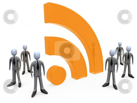 Business Community stock photo, 3D Businessmen gathered around a rss symbol. by Konstantinos Kokkinis