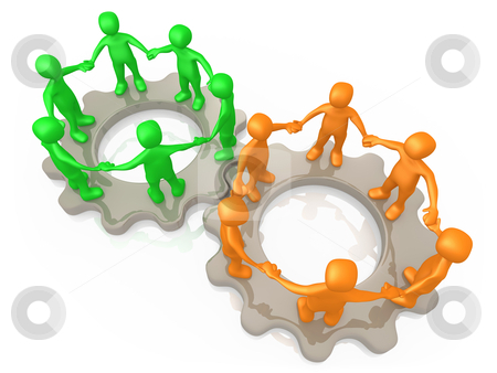 Cooperating Teams stock photo, Computer generated image - Cooperating Teams . by Konstantinos Kokkinis