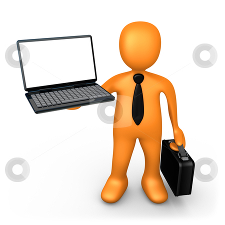 Businessman With Laptop stock photo, Computer Generated Image - Businessman With Laptop . by Konstantinos Kokkinis