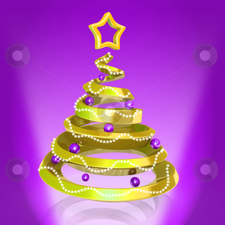 Gold Christmas Tree stock photo, Computer generated image - Gold Christmas Tree. by Konstantinos Kokkinis