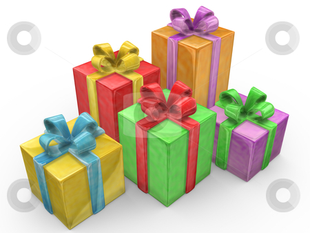 Presents stock photo, Computer Generated 3D Image - Presents . by Konstantinos Kokkinis