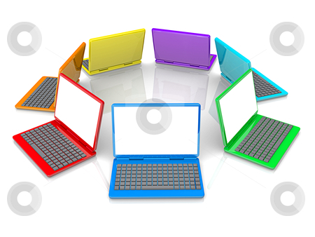 Colorful Laptops stock photo, Computer Generated Image - Colorful Laptops . by Konstantinos Kokkinis