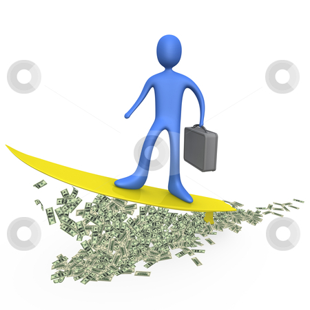 Money Surfing stock photo, Computer generated image - Money Surfing. by Konstantinos Kokkinis