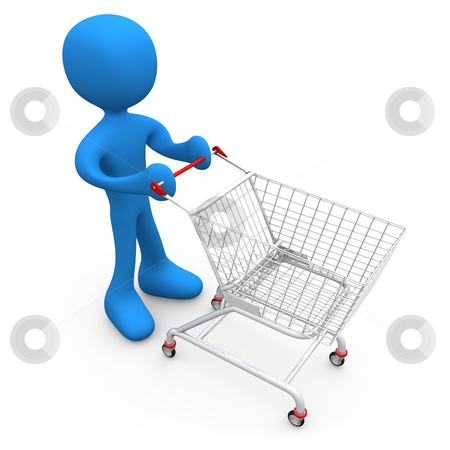 Person with shopping cart stock photo, Computer generated image - Person with shopping cart. by Konstantinos Kokkinis