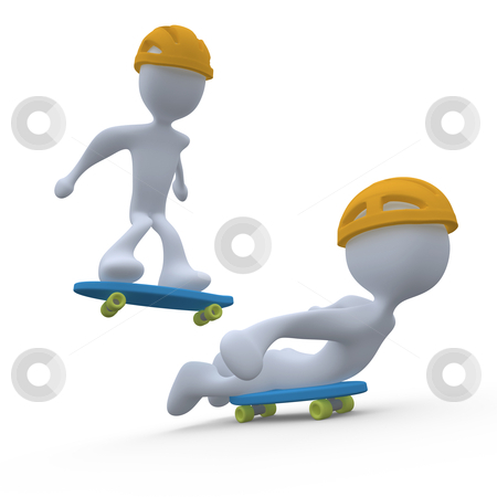 Skateboarding stock photo, 3d people skateboarding . by Konstantinos Kokkinis