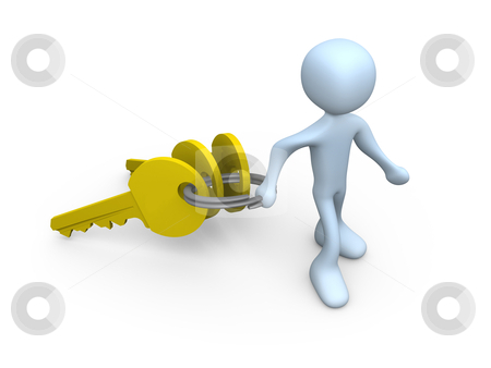Person Carrying Keys stock photo, Computer generated image - Person Carrying Keys by Konstantinos Kokkinis