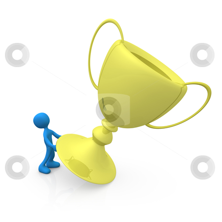 Lift the golden cup stock photo, Computer generated image - Lift the golden cup. by Konstantinos Kokkinis