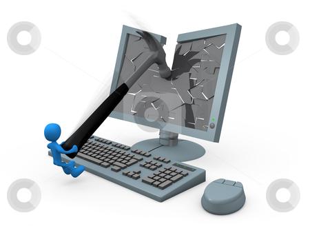 Smashing Monitor stock photo, Character smashing a monitor using a hammer. by Konstantinos Kokkinis