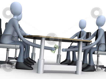 Deal Under The Table stock photo, 3d people making a deal under the table. by Konstantinos Kokkinis