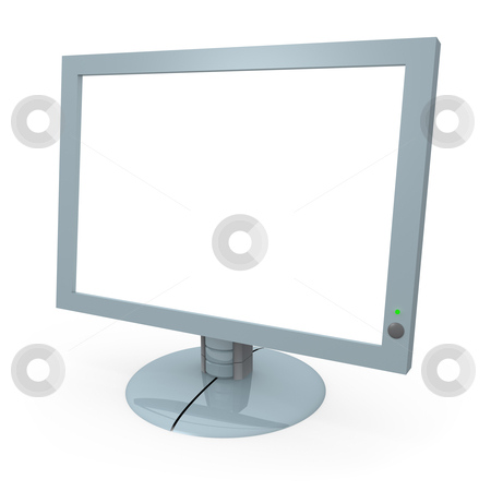 Computer monitor with blank screen stock photo, Computer monitor with blank screen. by Konstantinos Kokkinis