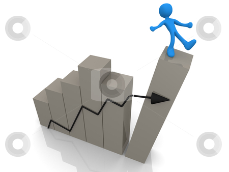 Risk In Business stock photo, 3d person about to fall from a graph. by Konstantinos Kokkinis