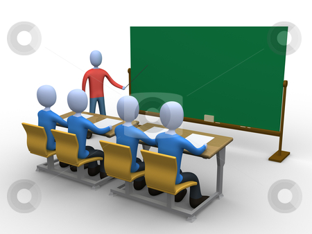 Teacher in Classroom stock photo, 3d person teaching a class. Blackboard is empty for you to add whatever you like. by Konstantinos Kokkinis